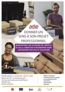 Sur l'invitation de l'ADIE, RESSAC participera au forum ESS de la Mairie du 10è le 5 juin